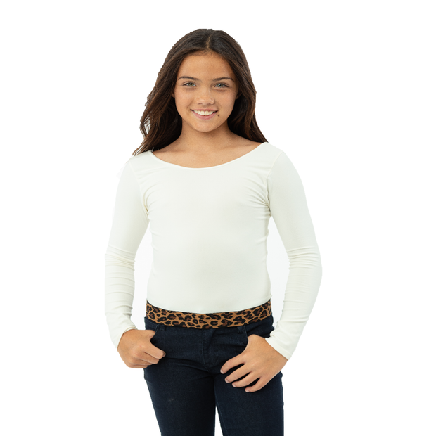 Long Sleeve Top w/ Brown/Black Leopard Elastic Band for Girls 10-14