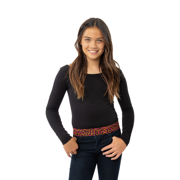 Long Sleeve Top w/ Brown/Hot Pink Leopard Elastic Band for Girls 10-14