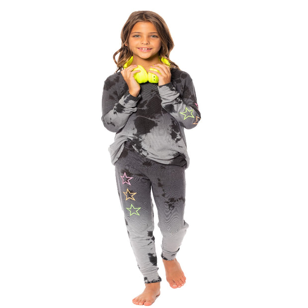 "Ombre TD Sweatpants - Charcoal & Black ""Neon Glitter Star"" for Tweens 7-14"