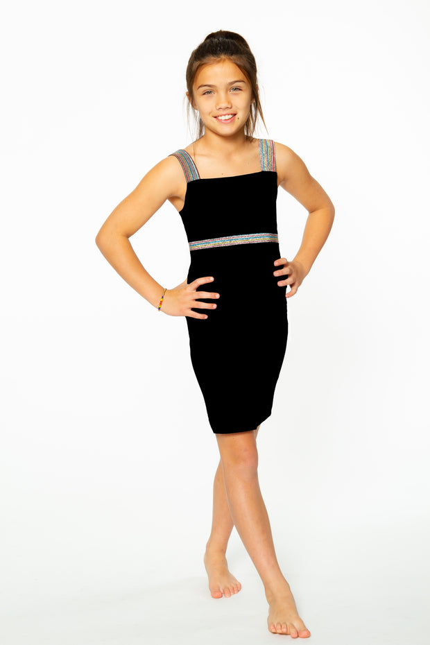 Black Dress w/ Holiday Metallic Elastic Waist Stripe for Tweens 7-14
