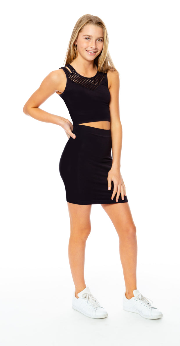 Black Mesh Skirt Set for Tweens 7-14