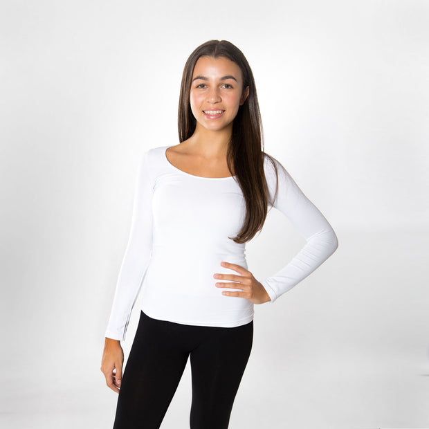Long Sleeve Tee Seamless Tops for Teens and Women