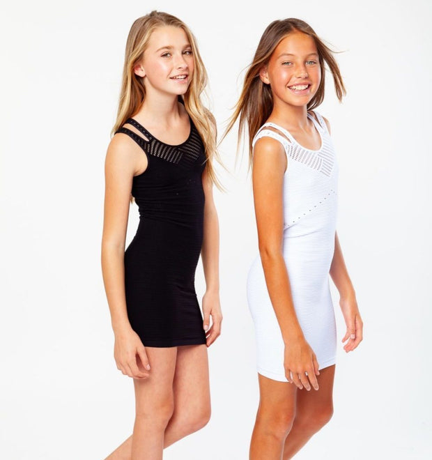 Mesh with Slit Front Dress for Tweens 7-14