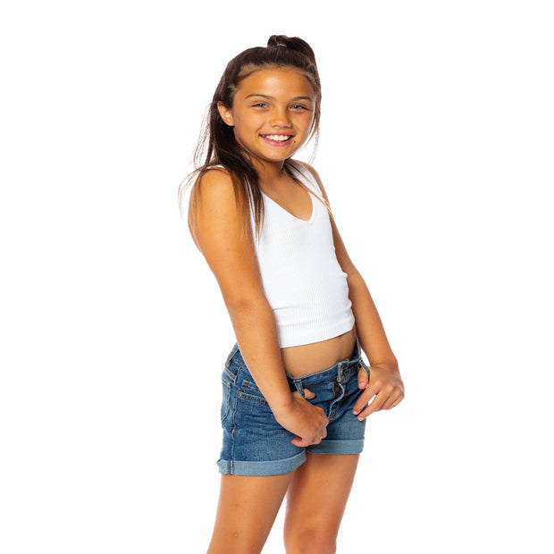 Ribbed V Neck Tank Top for Tweens 7-14