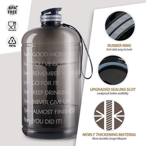 Fitness Sports Water Bottle with Motivational Time Marker