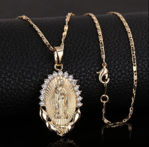 Jesus cross / Virgin Mary Pendant Necklace