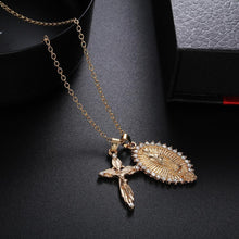 Load image into Gallery viewer, Jesus cross / Virgin Mary Pendant Necklace