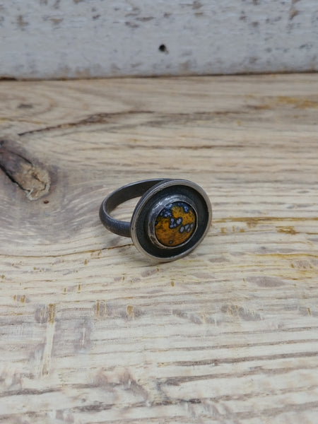 Enamel Dome Ring - Orange - Size 6.5