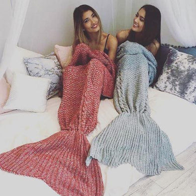 Cotton Knit Mermaid Tail Blanket