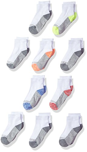 Fruit of the Loom Little Boys' 10 Pack Half Cushion Ankle Socks, White Assort, Shoe Size: 9–2.5 (Medium)