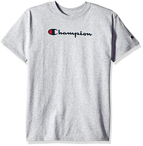 Champion Boys' Big Kids Script Tee, Light Steel, Medium