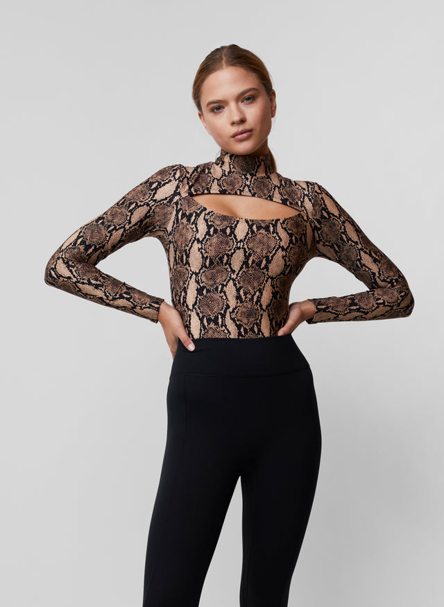 Mock Neck Cut Out Bodysuit
