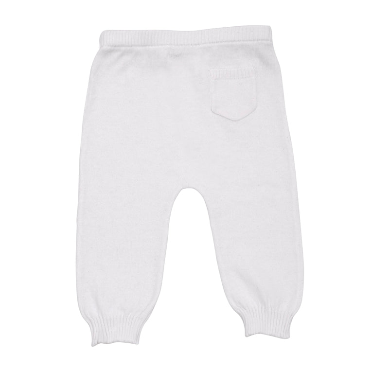 Lightweight cotton unisex baby pant with pocket in alpine white