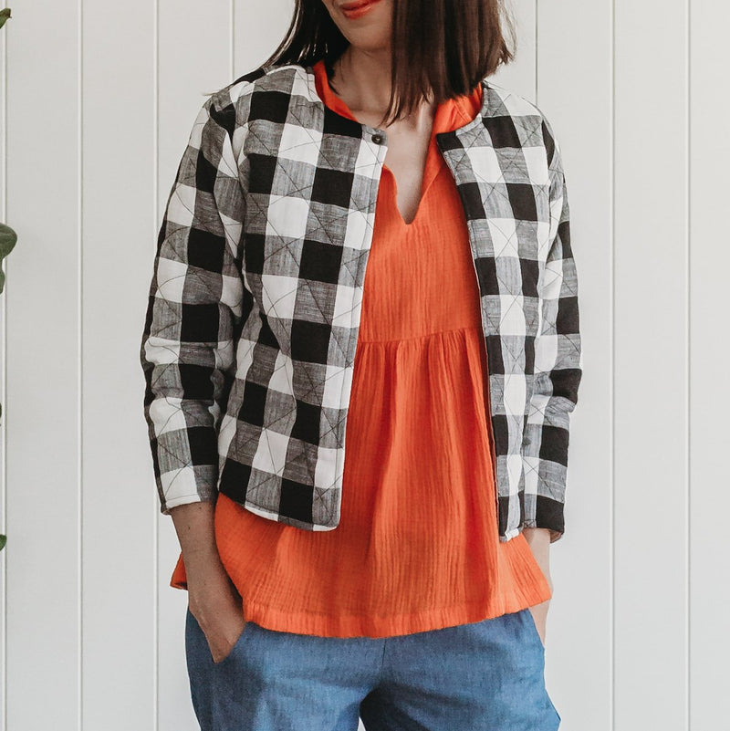 Holly womens jacket - black and white check