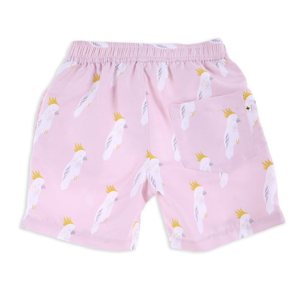 Cockatoo Party Quick dry Boardies Pink