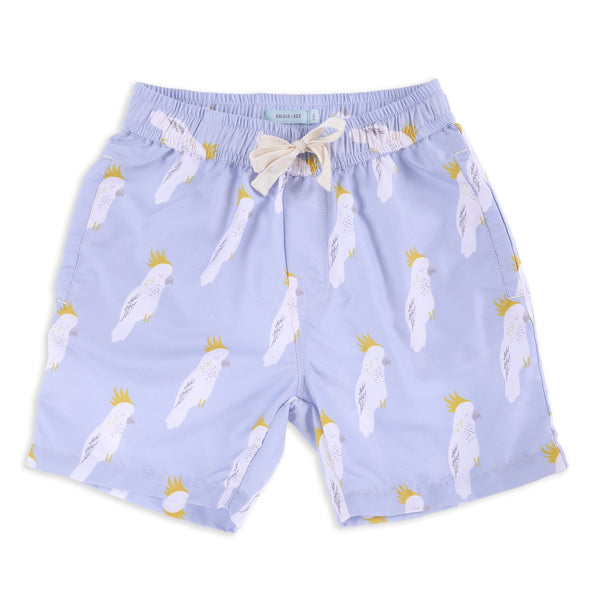 Cockatoo Party Quick dry Boardies Sky