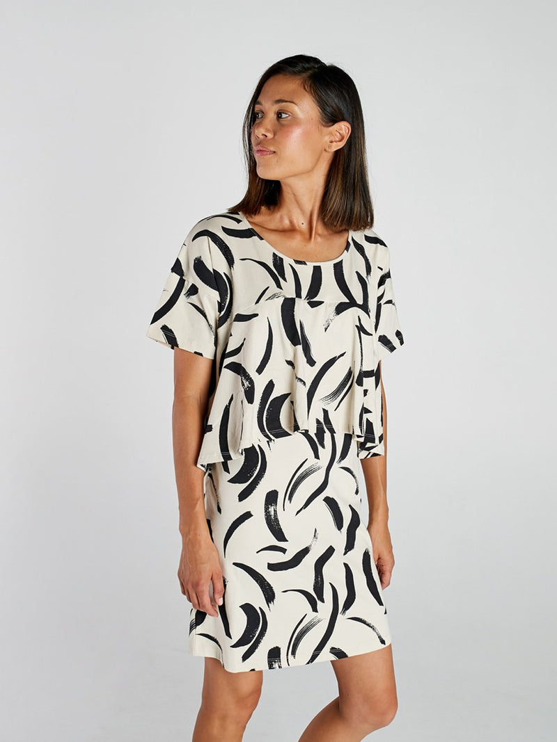 Painted Stripe Womens Front Tier Dress