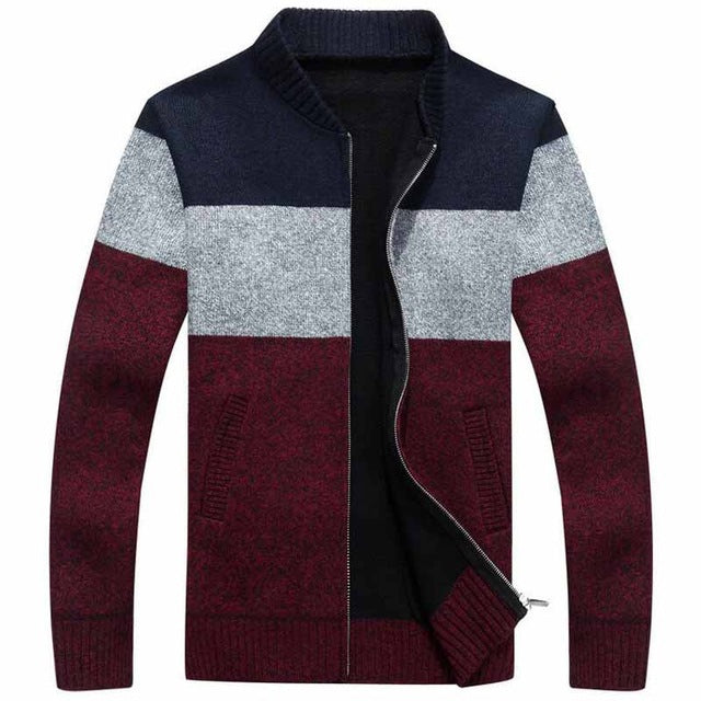 Tri-Color Warm Sweater with Standup Collar (3 Colors)
