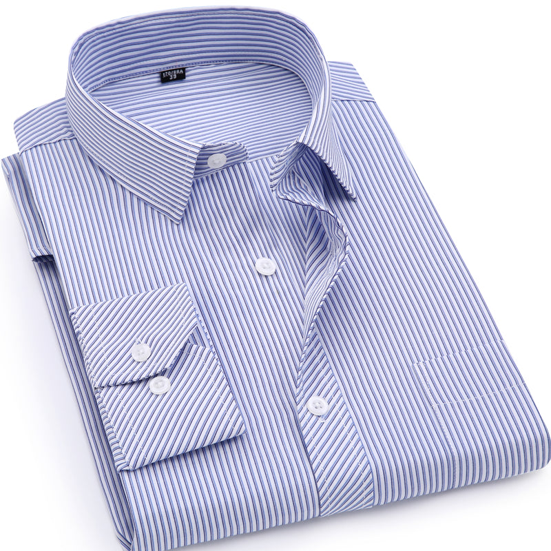 Classic Pinstriped Dress Shirt (4 Colors)