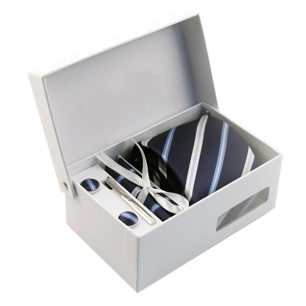 Necktie/Pocket Square/Cufflink Set - Midnight Royal