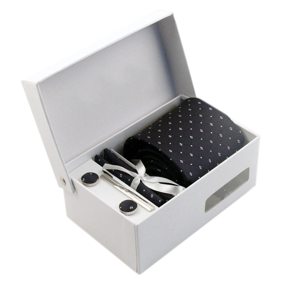 Necktie/Pocket Square/Cufflink Set - Midnight Obsidian