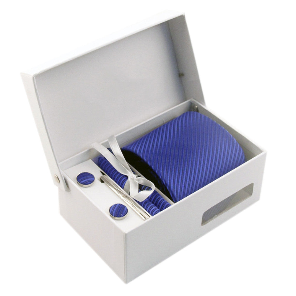Necktie/Pocket Square/Cufflink Set - Pure Navy