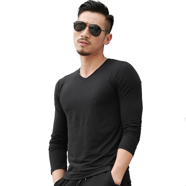V-Neck Long Sleeve Shirt (4 colors)