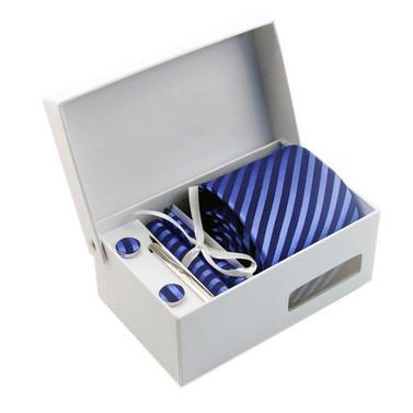 Necktie/Pocket Square/Cufflink Set - Game Blue