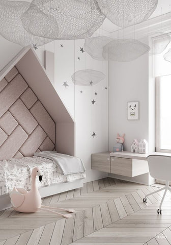 A beautiful girls bedroom in gentle blush and grey hues