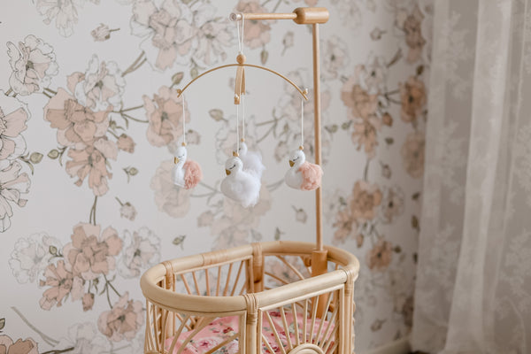 Swan Doll's Bed mobile and timber hanger