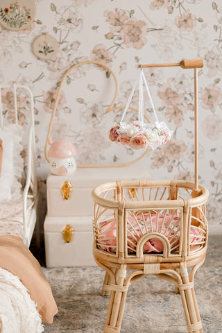 SET of 2 mini doll's bed mobiles with timber hanger