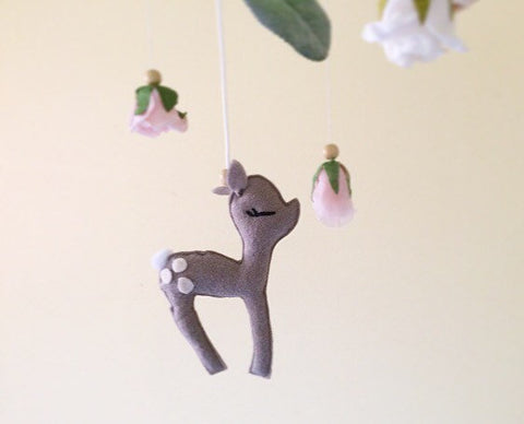 Floral fawn woodland mobile