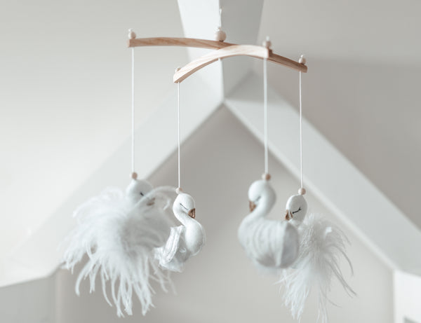 White feathers & Quilted lace swan mobile