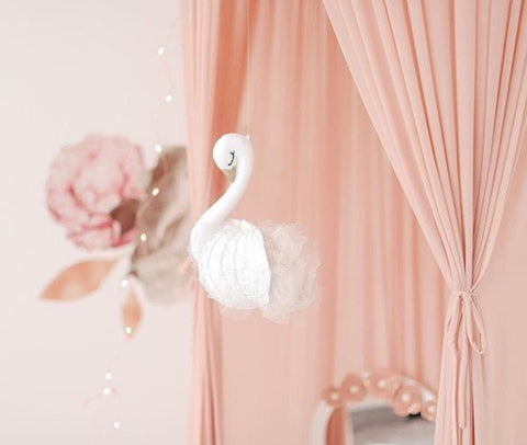 Flying Swan baby girl mobile- lace wings