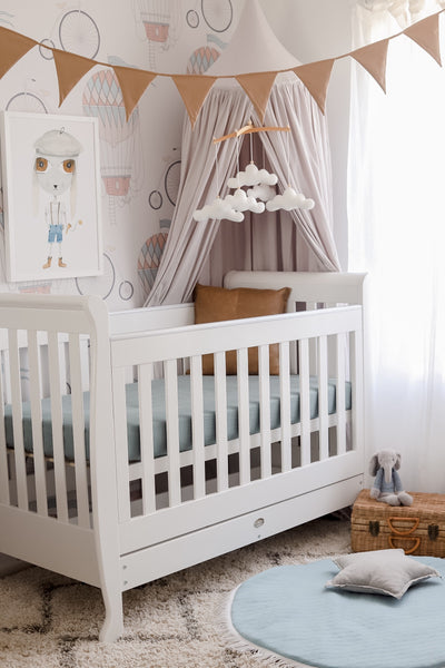 White cloud baby mobile