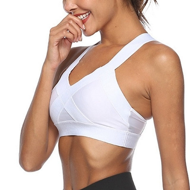 Shockproof Athletic Vest Fitness Women Fitness Running Gym Bra Gradient Sport Bra Breathable Sports Top Training Solid Yoga Bra