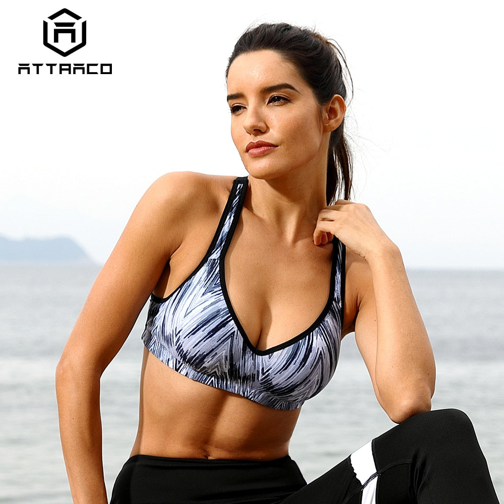 Attraco Women Sports Bra Med Impact Support Backcross Yoga Bra Running Workout Bra Underwear Fitness Sports Top
