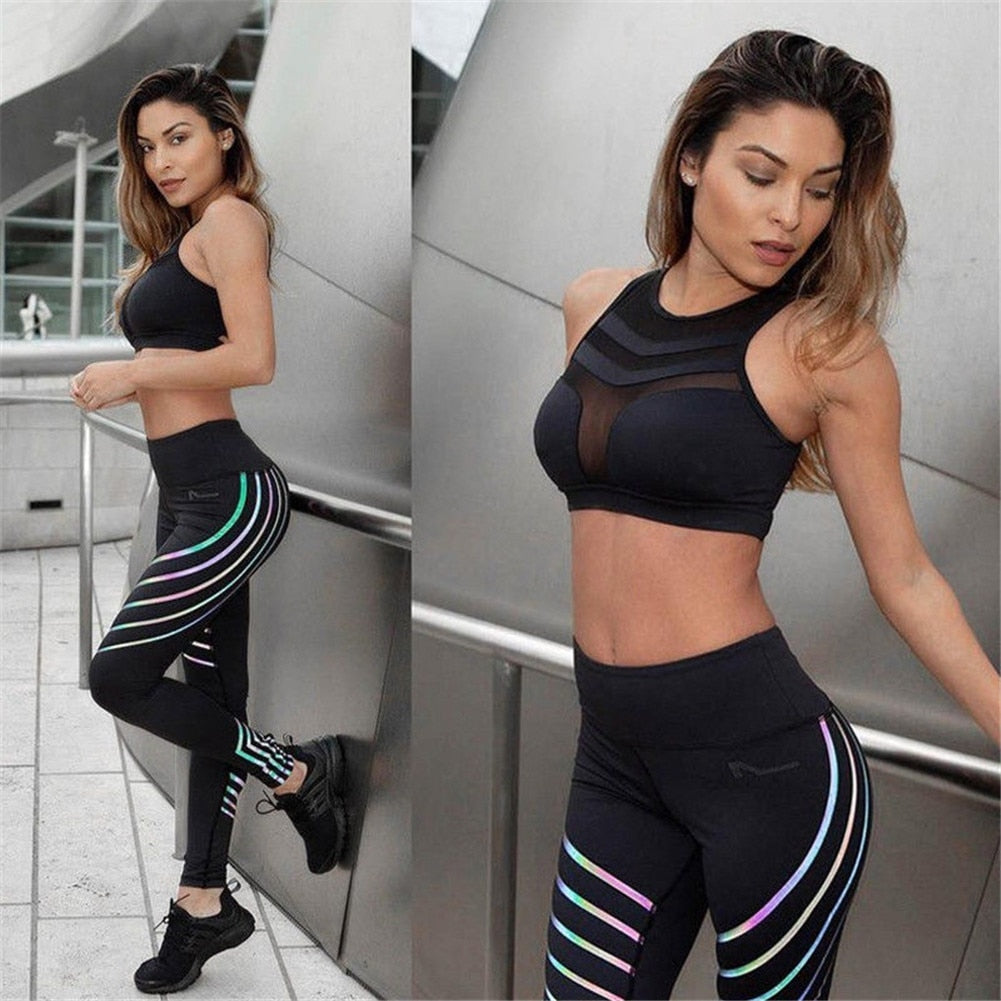 Black Sports Wear Noctilucent Glowing Tights Yoga Leggins+Mesh Tops Women Spring Summer Fitness Legging Ladies Sports Tracksuits
