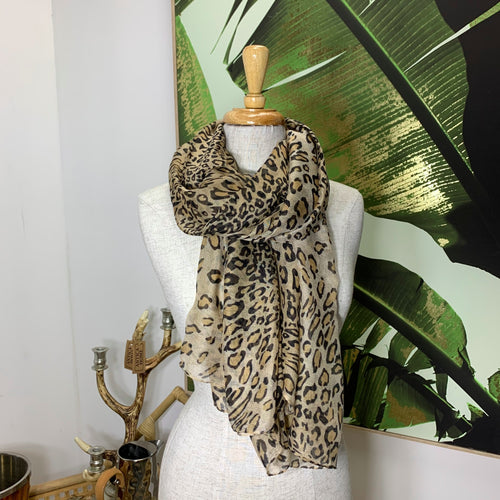 Animal Print Scarf / Tan 8006