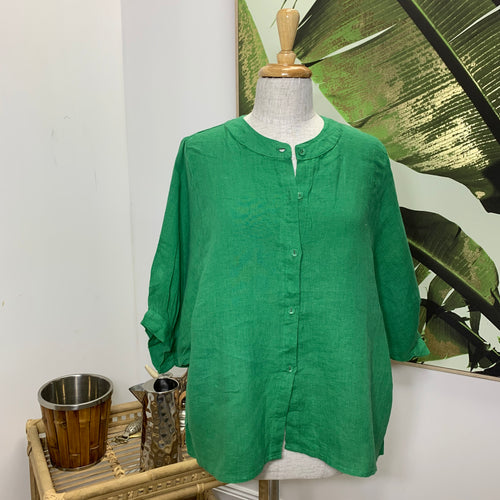 Austin Linen Blouse - Green