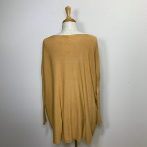 slinky knit tan boat neck