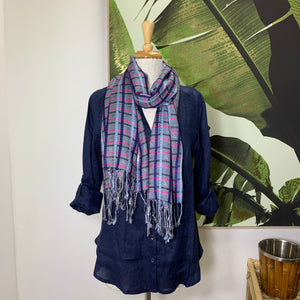 Check Scarf - Blue and Beige