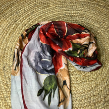 Silk Scarf - Floral and Red Stripe