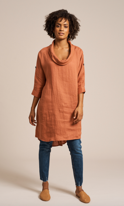Jacinda Cowl Neck Dress / Terracotta