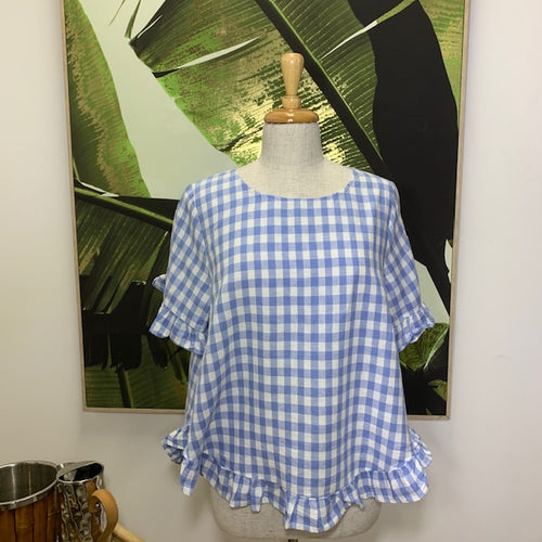Lindsay check top/ pale blue