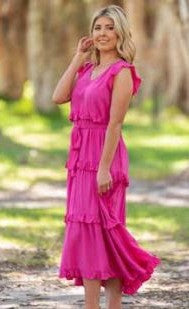 Fuchsia Tiered Dress
