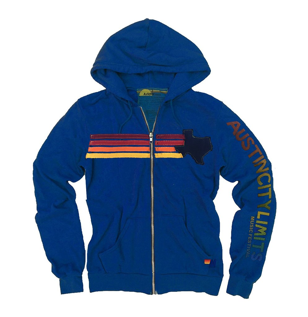 Aviator Nation Striped Appliqué Hoodie