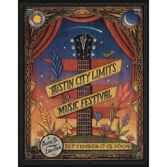 2004 acl festival commemorative poster acl music festival. Black Bedroom Furniture Sets. Home Design Ideas