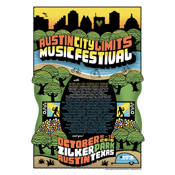 2010 acl festival commemorative poster acl music festival. Black Bedroom Furniture Sets. Home Design Ideas