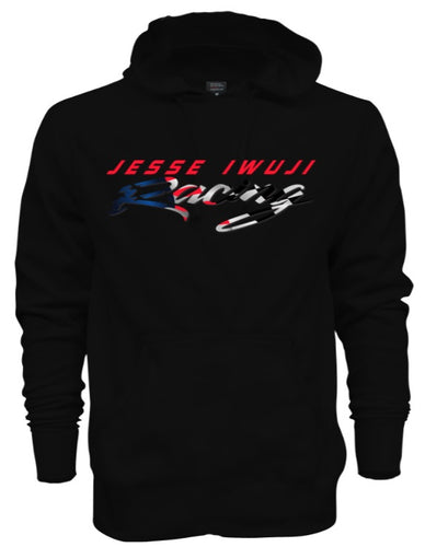 Jesse Iwuji Racing black hoodie with color logo
